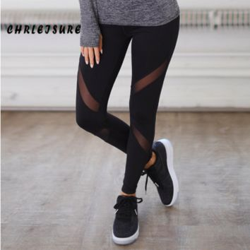 Sexy Women Leggings Gothic Insert Mesh Leggins Trousers Pants Big Size Black Capris Sportswear 2018 New Fitness Leggings