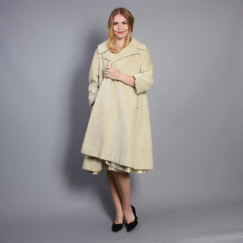 60s LILLI ANN Wool COAT / Mohair Ivory & Gray Fleck Swing Coat