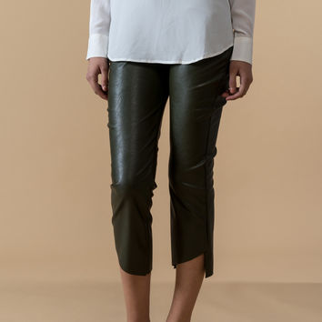 Skinny Faux Leather Crop Pants