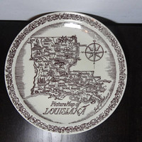 Vintage Brown Transferware Picture Map of Louisiana Ceramic Souvenir Plate by Vernon Kilns - Mid Century Modern
