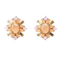 Faceted Stone Cluster Stud Earrings by Charlotte Russe - Pale Peach