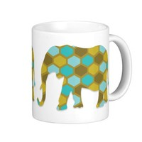 Olive Green Blue Yellow Elephant Classic White Coffee Mug