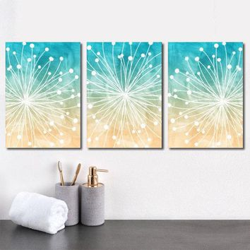 DANDELION Wall Art, Beach Bathroom Decor, Watercolor Decor, Ocean Bedroom, CANVAS or Prints, Ocean Bathroom, Dorm Room, Set of 3 Wall Decor