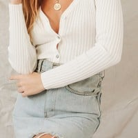 Nostalgia Button Front Knit Top // White