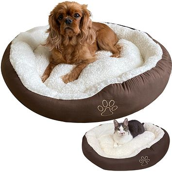 Evelots Soft Pet Bed for Cats Dogs Pet Bed, Assorted Colors, Large Brown