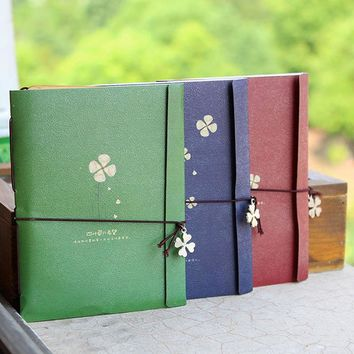 1Pcs Vintage Creative strap Pendant kraft paper diary Four Leaf Clover notepad Retro Notebook Stationery 01602