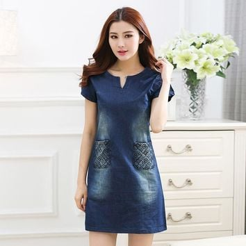 Summer Dress 2016 Women's fashion Denim Dress Vintage short-sleeved sexy Casual Dress women clothing dresses vestidos 5XL