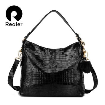REALER ladies handbag genuine leather tote bag female messenger bag women's big shoulder bag hobo with serpentine prints Black
