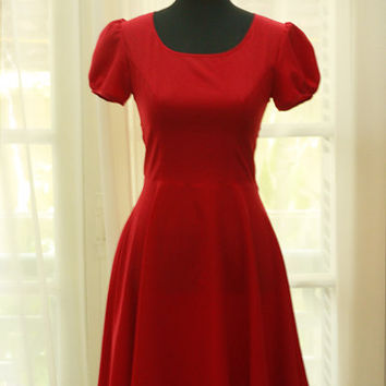 1960s Retro Vintage Style - Short Sleeve- Scoop neck - Bias cut - Fit & Flare Red dress in Cotton Woven - Custom Sizing Available - ORT103