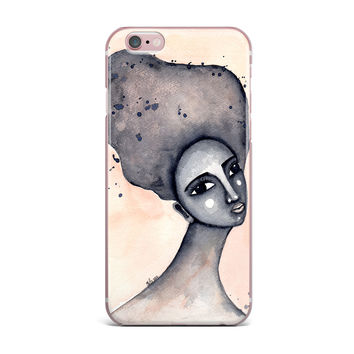 """Stacey-Ann Cole """"Yearning African American Art"""" Beige Black iPhone Case"""