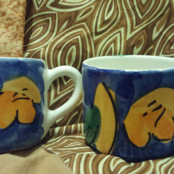 A Set of Colorful Blue. Yellow and White Hand Painted Ceramic Coffee Cups  - Peruvian Folk Art - Made in Peru
