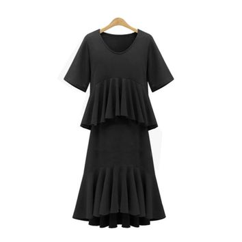 Women Fashion Patchwork Pleated Dress 2017 Loose Mid Calf Ruffles Cake Summer Dress Ladies Elegant Short Sleeve Party Dress