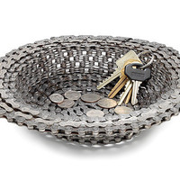BIKE CHAIN BOWL | Decorative, Unique Graham Berg Home Accent for Keys, Change, Potpourri is Handmade from Recycled Bicycle Parts | UncommonGoods