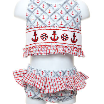 Three Sisters Anchor Smocked Toddler 2pc. Swimsuit