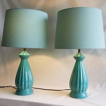 Pair of Vintage Mid-Century Mayfield Ceramic Table Lamps