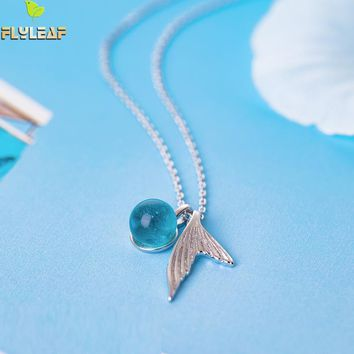 Flyleaf 100% 925 Sterling Silver Blue Crystal Mermaid Tears Necklaces & Pendants For Women Trend Lady Fashion Jewelry