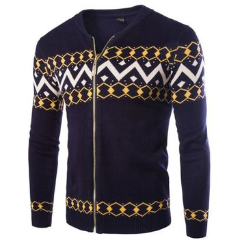 New Fashion Design British Style 2015 High Quality Cashmere Cardigan Sweater Male Fashion Printed Warm Sweaters 2Color M-XXL