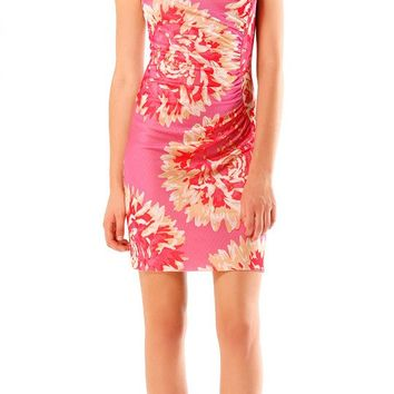 Sleeveless Pink Floral Jacquard Dress