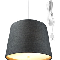 0-034857>Drum 2 Light Swag Plug-In Pendant with Diffuser - Granite Gray Burlap