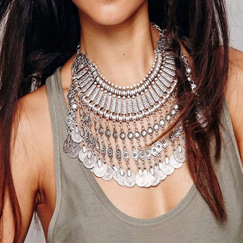 Fashion Bohemian Silver Coins Tassel Collar Bib Necklace Gypsy Turkish Jewelry