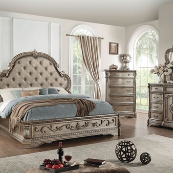 Acme 26930Q 5 pc Northville antique champagne finish wood leather like vinyl tufted queen bedroom set