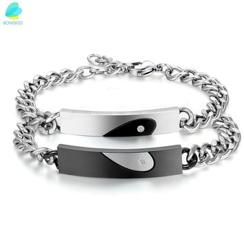 """BONISKISS Stainless Steel CZ  crystal """"Keep Me in Your Heart"""" Couple Matching Heart Bracelets Love Anniversary Promise Gifts"""