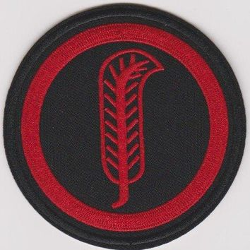 Led Zeppelin Iron-On Patch Round Red Leaf Logo