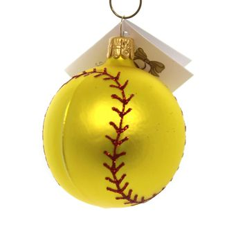 Golden Bell Collection SOFTBALL Glass Hand Painted Nv500