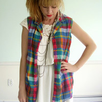 Saddled Plaid Vintage Early 90s Bright Sleeveless Cotton Printed Button Down Shirt MEDIUM M