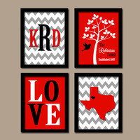 Texas Red Black Family College University Monogram State Couple Wedding Gift LOVE Bird Tree Established Date Set 4 Prints Wall Art
