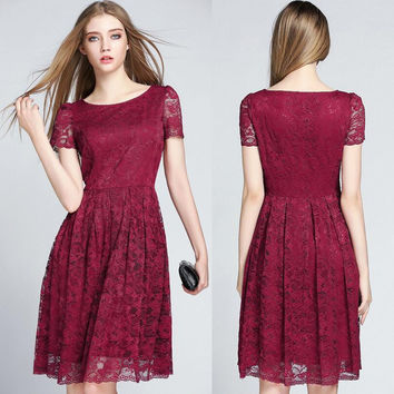 Red Wine Short Sleeve Lace Dress