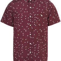 Burgundy Swallow Print Short Sleeve Shirt