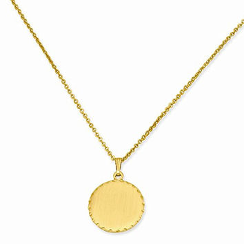 18in Gold-plated Medium Satin Round Engravable Disc Necklace
