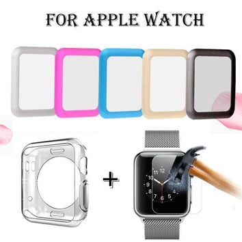 Full Protect Tempered Glass Screen Cover+TPU Case for Apple Watch SERIES 3 /2 /1