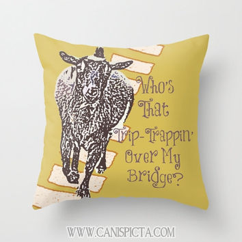 Nigerian Dwarf Goat Throw Pillow 16x16 Graphic Print Cover The Three Billy Goats Gruff Home Couch Art Decorative Mustard Yellow Kids Story