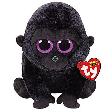 "Pyoopeo Ty Beanie Boos 6"" 15cm George the Black Gorilla Plush Regular Stuffed Animal Collectible Soft Big Eyes Doll Toy"