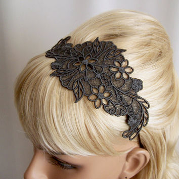 Lily lace headband charcoal grey by StitchFromTheHeart on Etsy