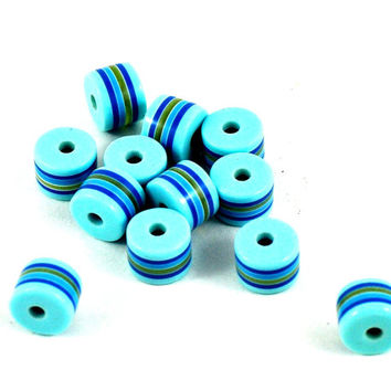 Plastic Aqua Light Blue Striped Tube Barrel Beads - Spacer Beads Jewellery Supplies - Costume and Craft Supplies - DeeDeeSupplies on Etsy