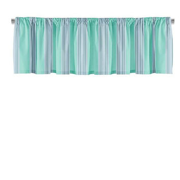 Turquoise and Gray Stripes Valance
