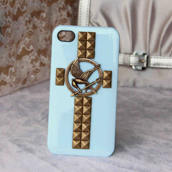 punk style rivet cross the hunger games mockingjay iphone case for iphone 4 4s 5 samsung s4 trending protective case friendship love gifts