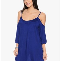 Royal Blue Cold Shoulder Mini Dress | $10.00 | Cheap Trendy Casual Dresses Chic Discount Fashion fo