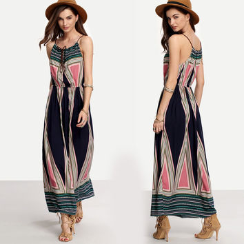 Summer Boho Long Maxi Dress Beach Sundress striped ankle-length