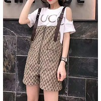 """Gucci""Woman's Leisure  Fashion Letter Printing Short Sleeve  Strap Pants Two-Piece Set Casual Wear"