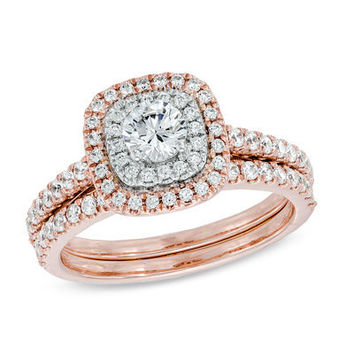 1 CT. T.W. Diamond Double Frame Bridal Set in 14K Rose Gold - View All Rings - Zales