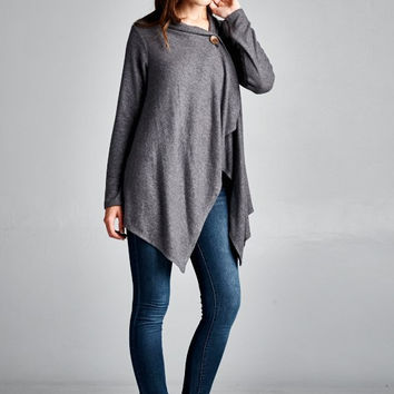 EcoVibe Apparel One Button Wrap Cardigan in Charcoal Grey