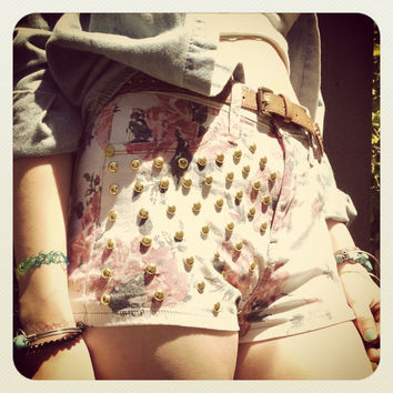 REDUCED PRICE HIgh Waisted Studded Floral Shorts // Circle Stud Hipster Shorts // Soft Grunge Festival