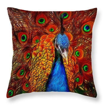 Decorative accent throw pillow. Peacock with glowing feather. Colorful beautiful home decor piece