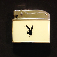 Playboy Bunny Pocket Lighter, Off White Enamel and Chrome,  Black  Playboy Bunny Logo