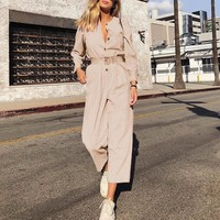 Corduroy Light Jumpsuits Romper Women High Fashion Button Jumpsuit Female Casual Long Romper