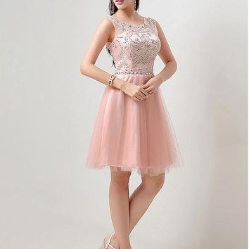 [65.99] In Stock Stunning Tulle Bateau Neckline Short A-Line Homecoming Dresses With Beadings - dressilyme.com